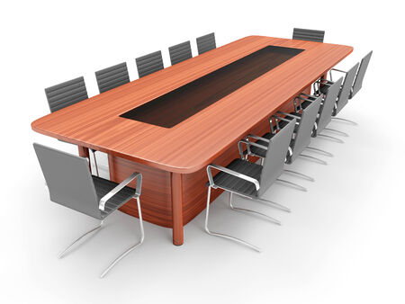 Modern Conference Table with Chairs isolated on white background photo
