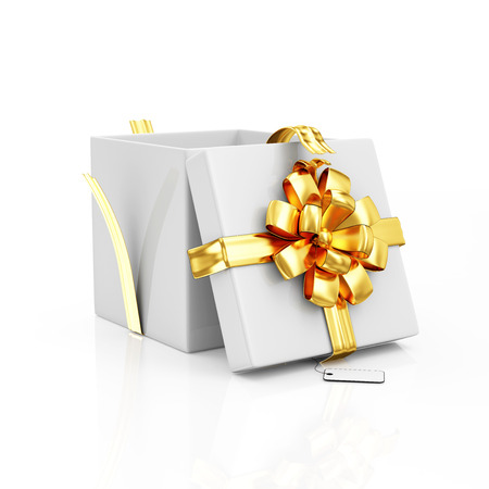 Opened Gift Box with Golden Ribbon and Bow isolated on white background