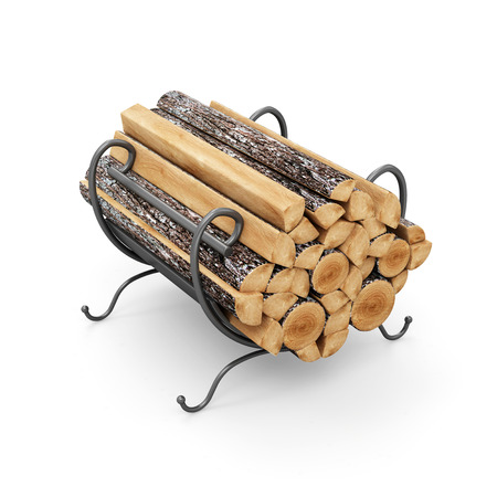 birch bark: Firewood Logs on Metal Stand isolated on white background