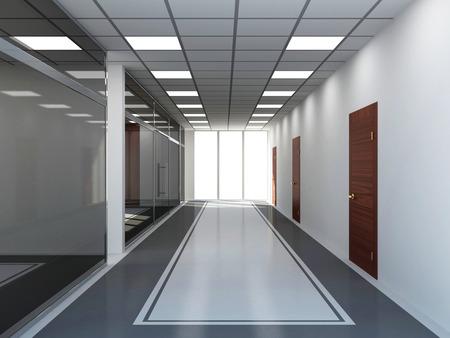 큰 창에 현대 빈 사무실 인테리어