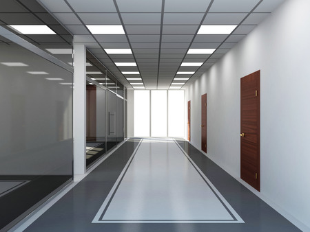 glass doors: Modern Empty Office Interior with Big Windows Stock Photo