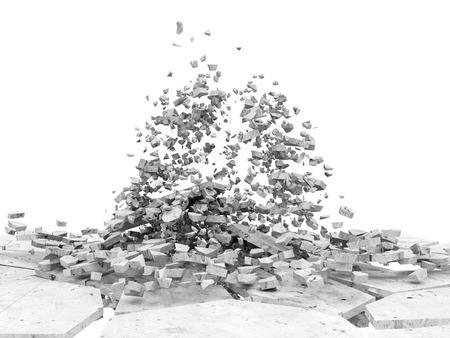 hormig�n: Broken piso concreto aislado en el fondo blanco