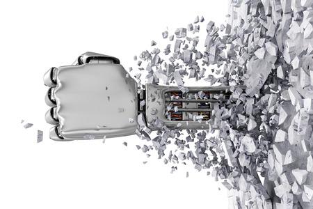 Metal Robotic Hand Breaking Through Van Concrete Muur.