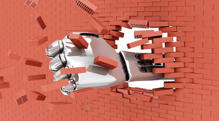 Metal Robotic Hand Breaking Through From Red Brick Wall. photo