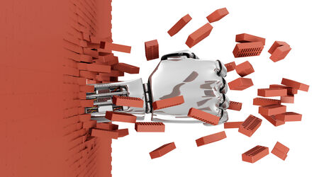 Metal Robotic Hand Breaking Through From Red Brick Wall.