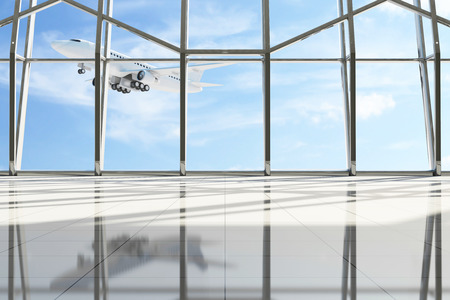 superficie: Aeropuerto �rea de espera de la terminal. Pasillo vac�o interior con grandes ventanas y volar el avi�n atr�s. Avi�n de pasajeros de mi propio dise�o
