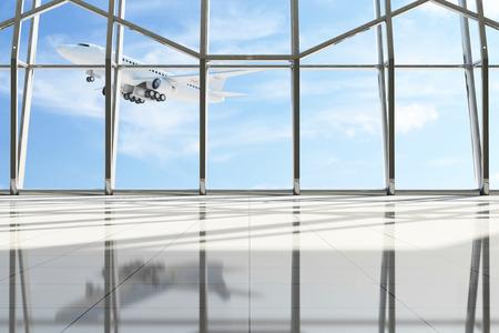 Airport Terminal Waiting Area. Lege Zaal met grote ramen en vliegend vliegtuig achter. Passagiersvliegtuig van mijn eigen ontwerp