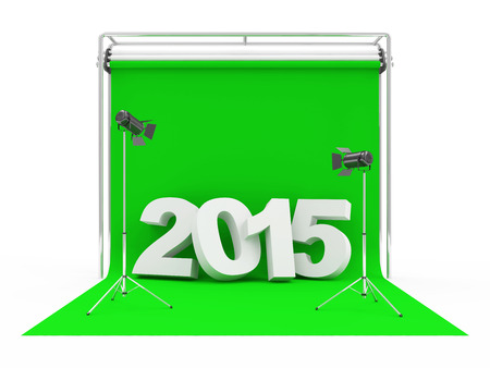 New Year 2015 on Modern Photo Studio with Green Screen and Light Equipment photo