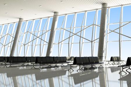 Moderne interieur van een Airport Terminal Waiting Area. Stockfoto
