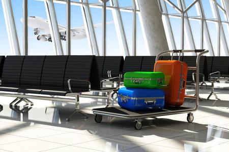 superficie: Maletas viajero en �rea Terminal del Aeropuerto de espera. Foto de archivo