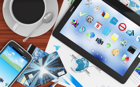 banking document: Modern Place of Work with Group of Office Equipment and Accessories Stock Photo