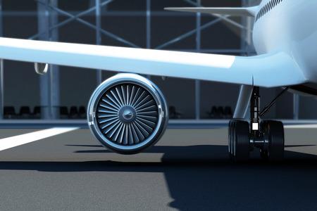 飛行機タービン エンジンのクローズ アップ眺め。ターミナルのそばに待機する空港で旅客機