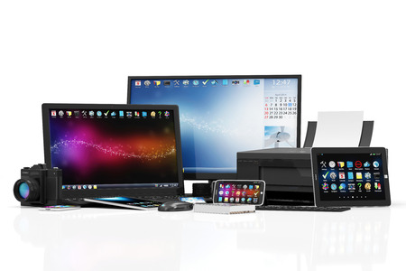 Group of Office Equipment. Banque d'images