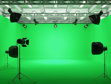 Padiglione Interior of Modern Film Studio con schermo verde e di illuminazione Archivio Fotografico - 35410265