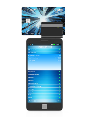 Mobile Banking and Payment Concept. Touchscreen Smart Phone with Credit Card Reader isolated on white background