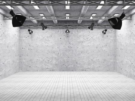 Pavilion Interior of Modern Film Studio with Light Equipment 스톡 콘텐츠