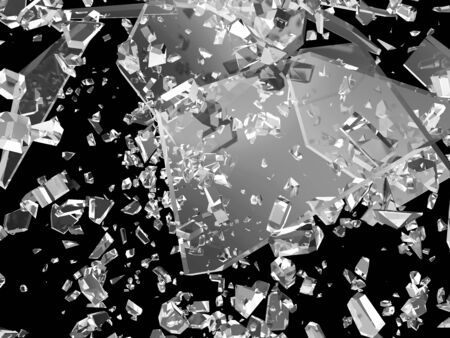 shatter: Broken Glass into Pieces isolated on black background