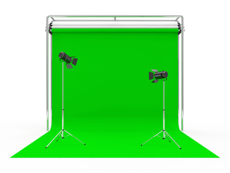 tubus: Modern Photo Studio with Green Screen and Light Equipment isolated on white background