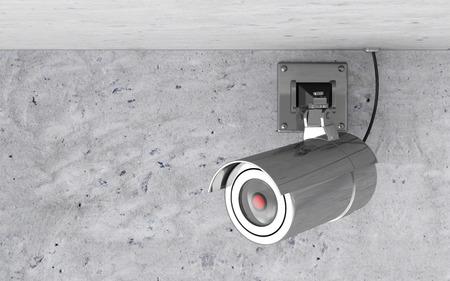 Modern Metallic CCTV Camera on the Ceiling photo