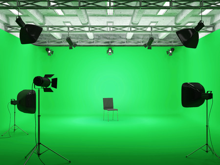 tubus: Pavilion Interior of Modern Film Studio with Green Screen and Light Equipment