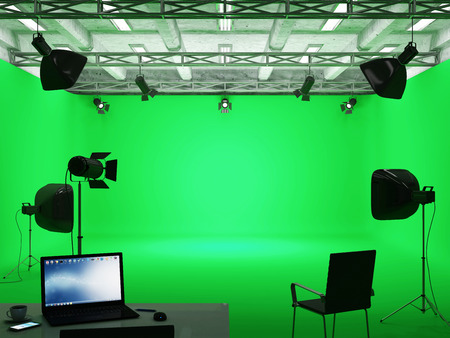 Pavilion Interior of Modern Film Studio with Green Screen and Light Equipment