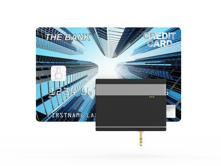 e retailers: Mobile Credit Card Reader isolated on white background