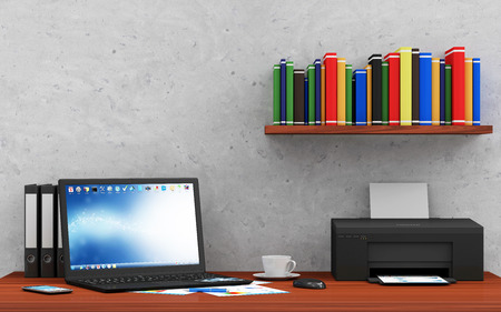 hp: Modern Place of Work with Group of Office Equipment and Accessories Stock Photo