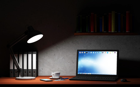 Modern Place of Work at Night with Group of Office Equipment and Accessories: Laptop, Smart Phone, Lamp, Computer Mouse, Folders, Cup of Coffee and Books