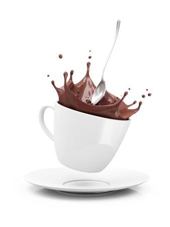 白い背景で隔離の王冠スプラッシュとホット チョコレートのカップ