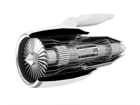 inside: Cross Section of Modern Airplane Jet Engine Turbine isolated on white background