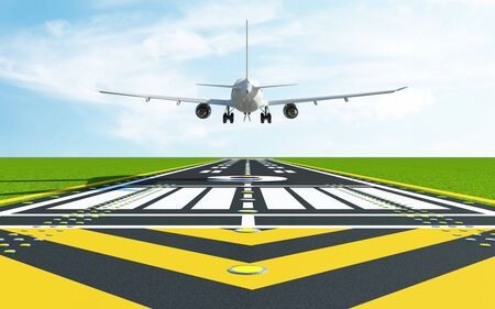 airplane landing: Airplane Landing on Airport Runway. Passenger Airliner of My Own Design