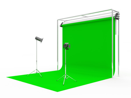 green technology: Modern Studio with Green Screen and Light Equipment isolated on white background