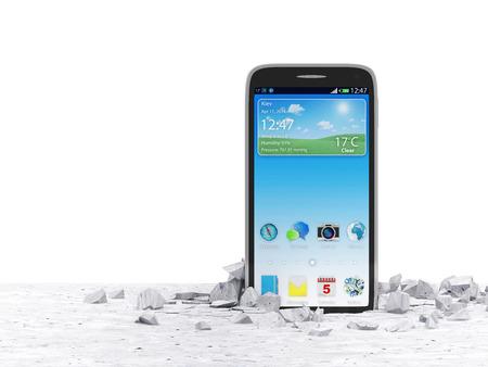 crack: Moderne tactile Smartphone percer De Sol en b�ton isol� sur fond blanc
