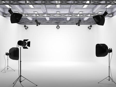 Modern Interior of Studio with Light Equipment.