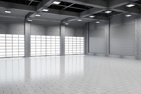 大きな窓とモダンな倉庫 3 D インテリア 写真素材