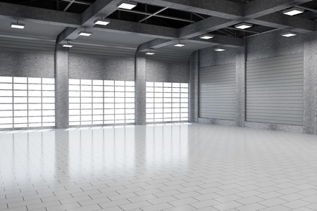 aged business: Modern Storehouse 3D Interior with Large Windows Stock Photo