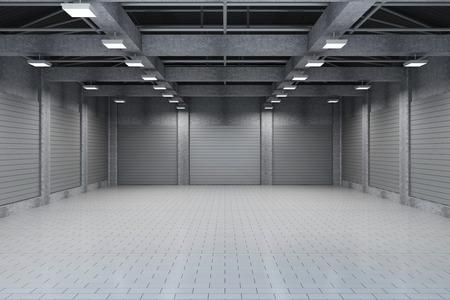 Modern Storehouse 3D interieur met Closed Doors
