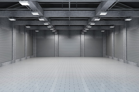 dark interior: Modern Storehouse 3D Interior with Closed Doors