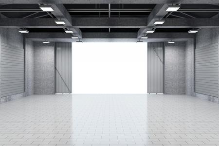 開けられたドアと近代的な倉庫 3 D インテリア