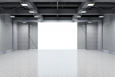 Modern Storehouse 3D Interior with Opened Doors