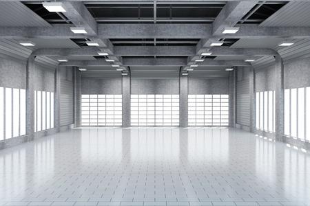 大きな窓とモダンな倉庫 3 D インテリア。