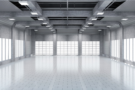 dark interior: Modern Storehouse 3D Interior with Large Windows.