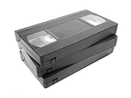 videocassette: Grupo de cintas de v�deo aislado en fondo blanco