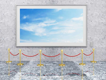 velvet rope: Modern Gallery Interior with Picture Frame and Golden Velvet Rope. 3D Rendering Stock Photo
