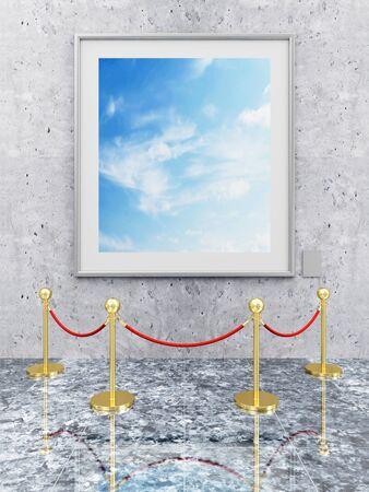 Modern Gallery Interior with Picture Frame and Golden Velvet Rope. 3D Rendering photo