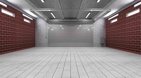 Garage 3D Interior with Closed Roller Door 스톡 콘텐츠