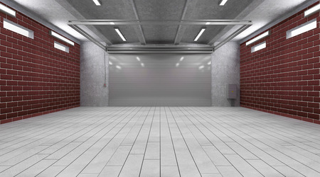 Garage 3D Interior with Closed Roller Door photo