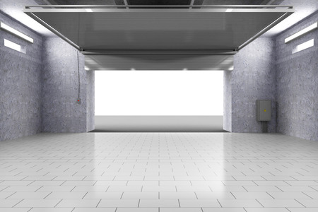 Empty Garage 3D Interior with Opened Roller Door photo