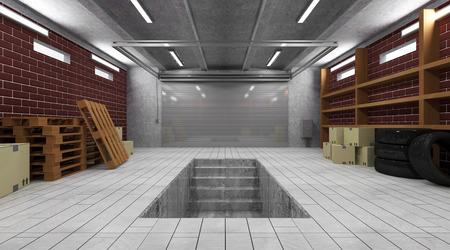 Garage 3D Interior with Closed Roller Door photo
