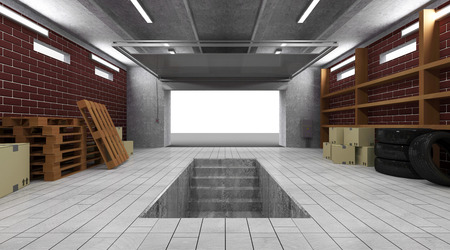 Garage 3D Interior with Opened Roller Door photo